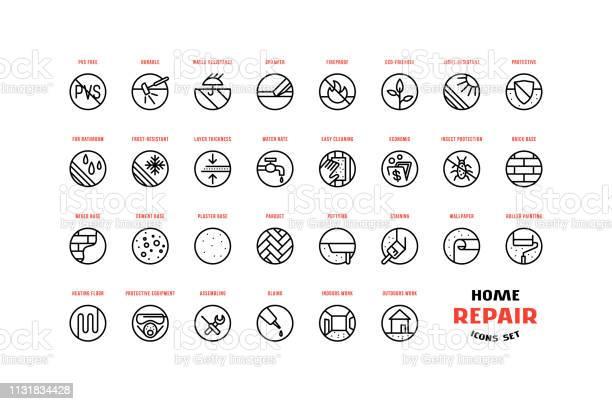 Home Repair And Building Icons Set In Thin Line Style - Arte vetorial de stock e mais imagens de Acender