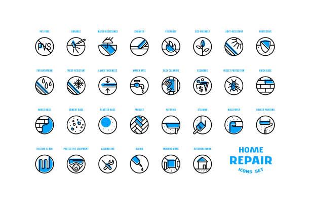 ilustrações de stock, clip art, desenhos animados e ícones de home repair and building icons set in thin line style - durabilidade