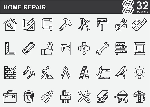 Home Repair and Construction Line Icons