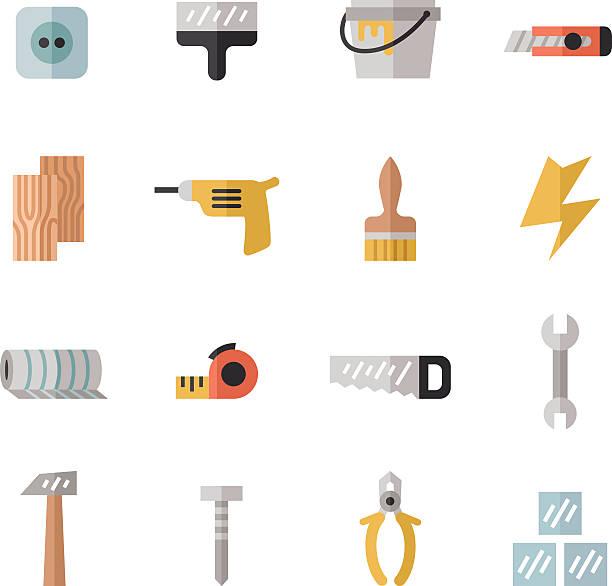 home reparatur und konstruktion bunte flache icons set. teil 1. - nagelplatte stock-grafiken, -clipart, -cartoons und -symbole