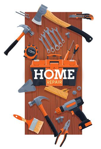 Home repair and renovation hand tools kit vector