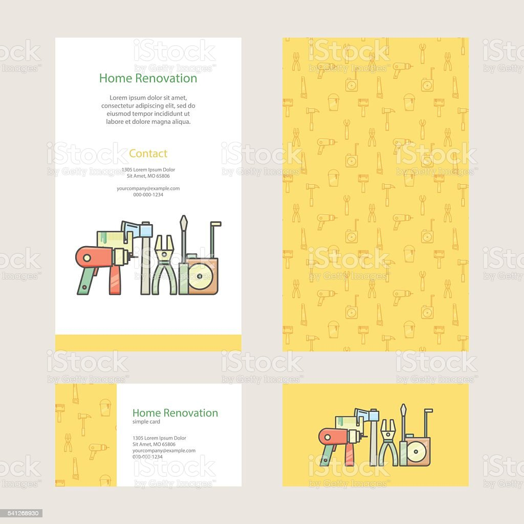 Home Repair Brochure And Business Card With Construction Tools Stock ...