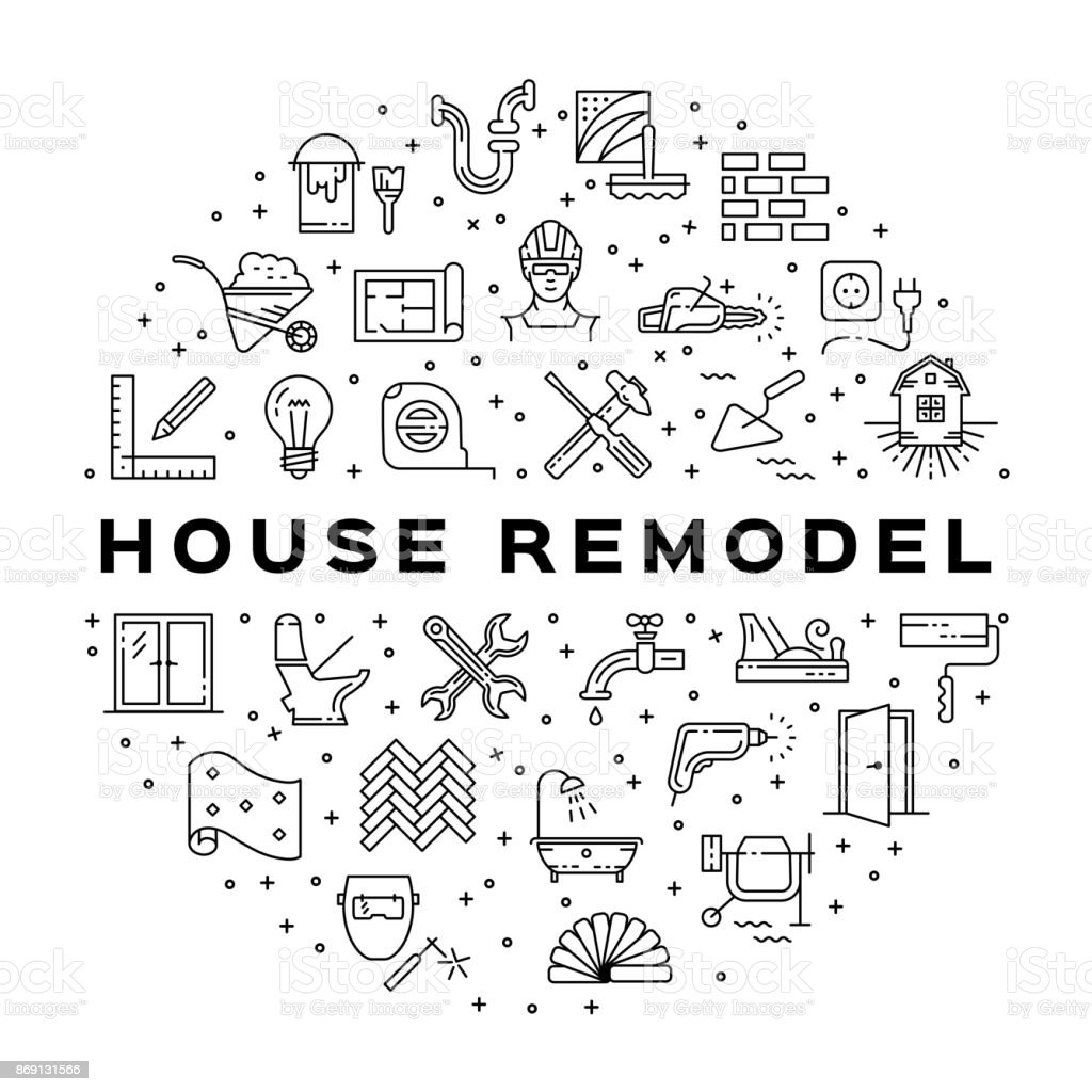 Home Repair circle infographics Construction icon. House remodel thin line art icons. Vector illustration vector art illustration