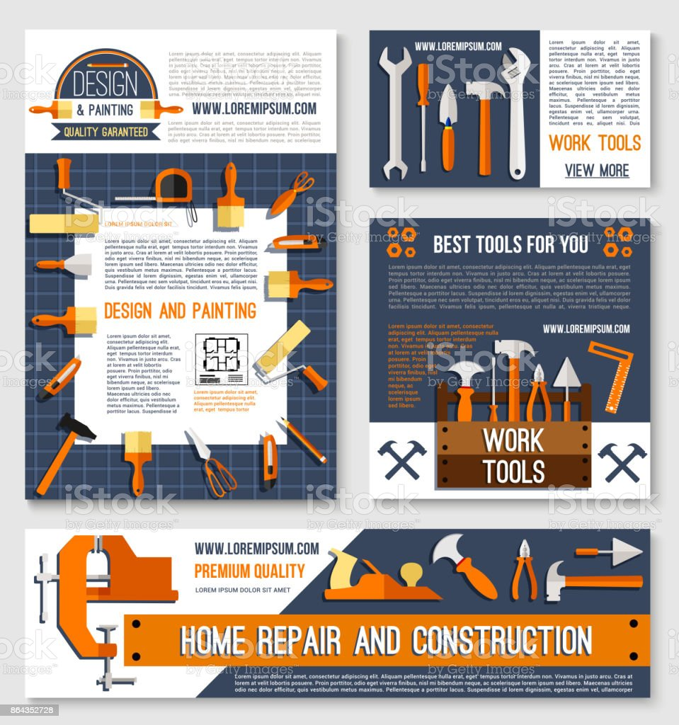 Reparaciones Construcción Poster Plantilla Conjunto - Arte ...