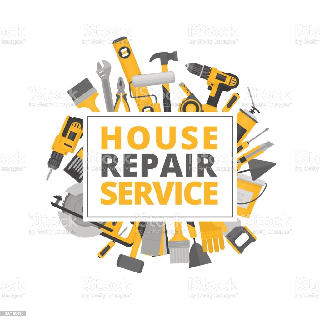 Home repair. Construction tools. Hand tools for home renovation and construction. Flat style, vector illustration. vector art illustration