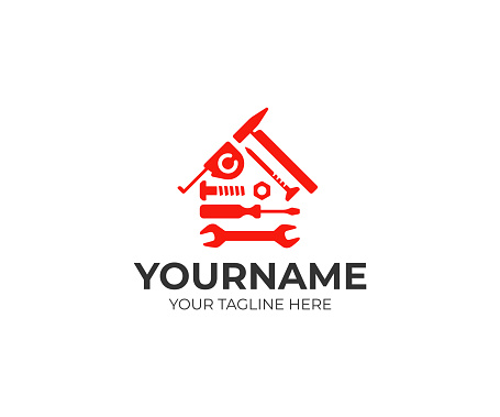 Home repair design. House building tools vector design. House construction design