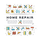 Home repair flyer Construction icon. House remodel thin line art icons. Vector flat illustration