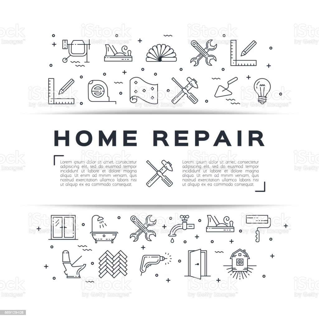 Home repair flyer Construction poster. House remodel thin line art icons. Vector vector art illustration