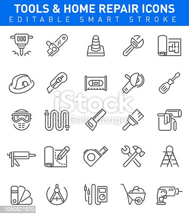 Working tools and Home Repair icons with hammer, chainsaw, paintbrush symbols