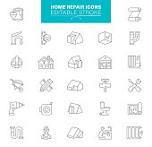 Home Repair Construction Icon Set. Editable stroke.