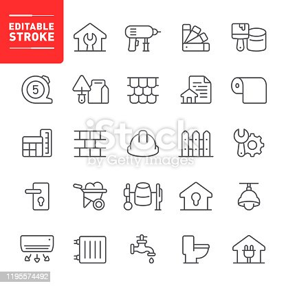 Construction, repair, home repair, editable stroke, outline, icon, icon set, home improvement, work tools