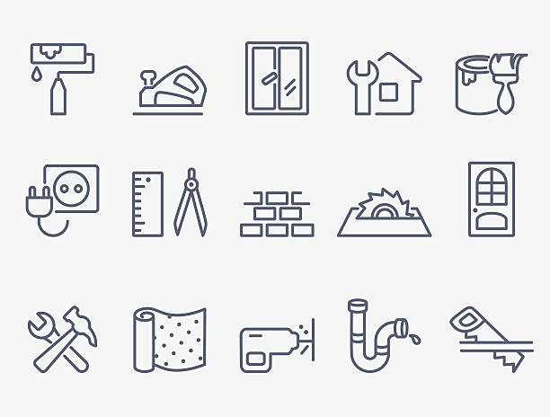 Home repair icons Set\of 15 home repair icons paint can stock illustrations