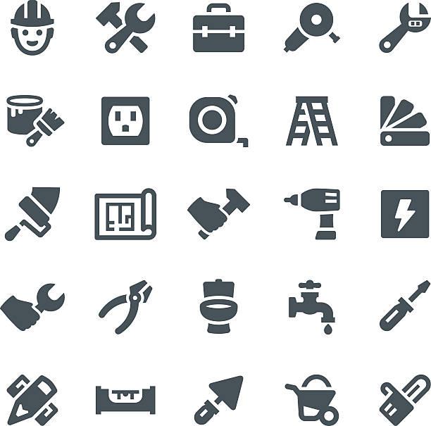 Home Repair Icons Construction, repair, home repair, icon, icon set, work tools diy stock illustrations