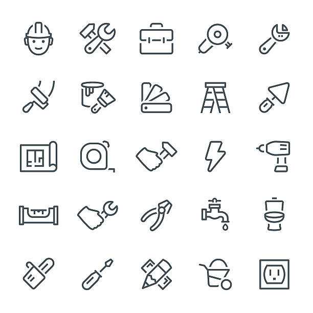 Home Repair Icons Construction, repair, home repair, icon, icon set, work tools utility knife stock illustrations