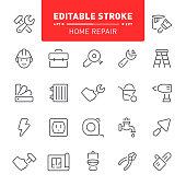Construction, repair, outline, editable stroke, editable stroke, home repair, icon, icon set, work tools