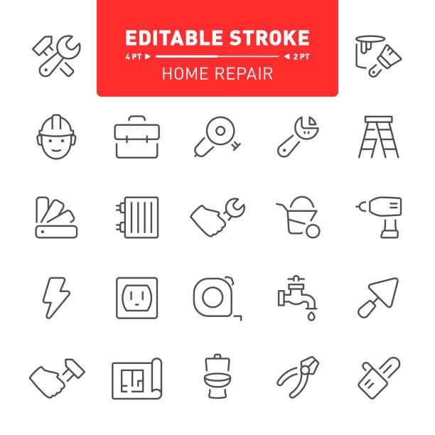 stockillustraties, clipart, cartoons en iconen met home reparatie pictogrammen - kruiwagen met gereedschap