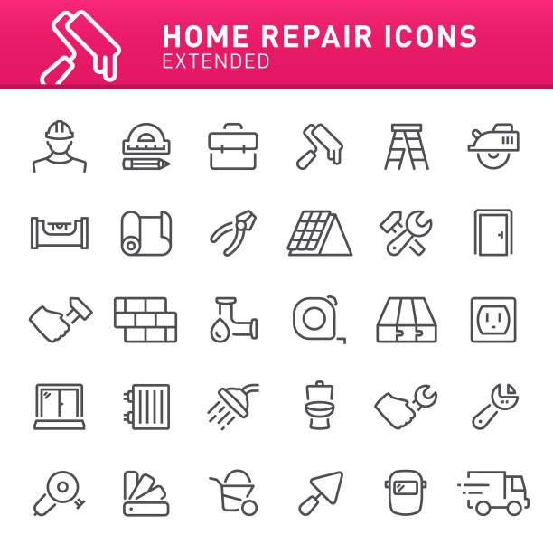 bildbanksillustrationer, clip art samt tecknat material och ikoner med hem reparation ikoner - construction workwear floor