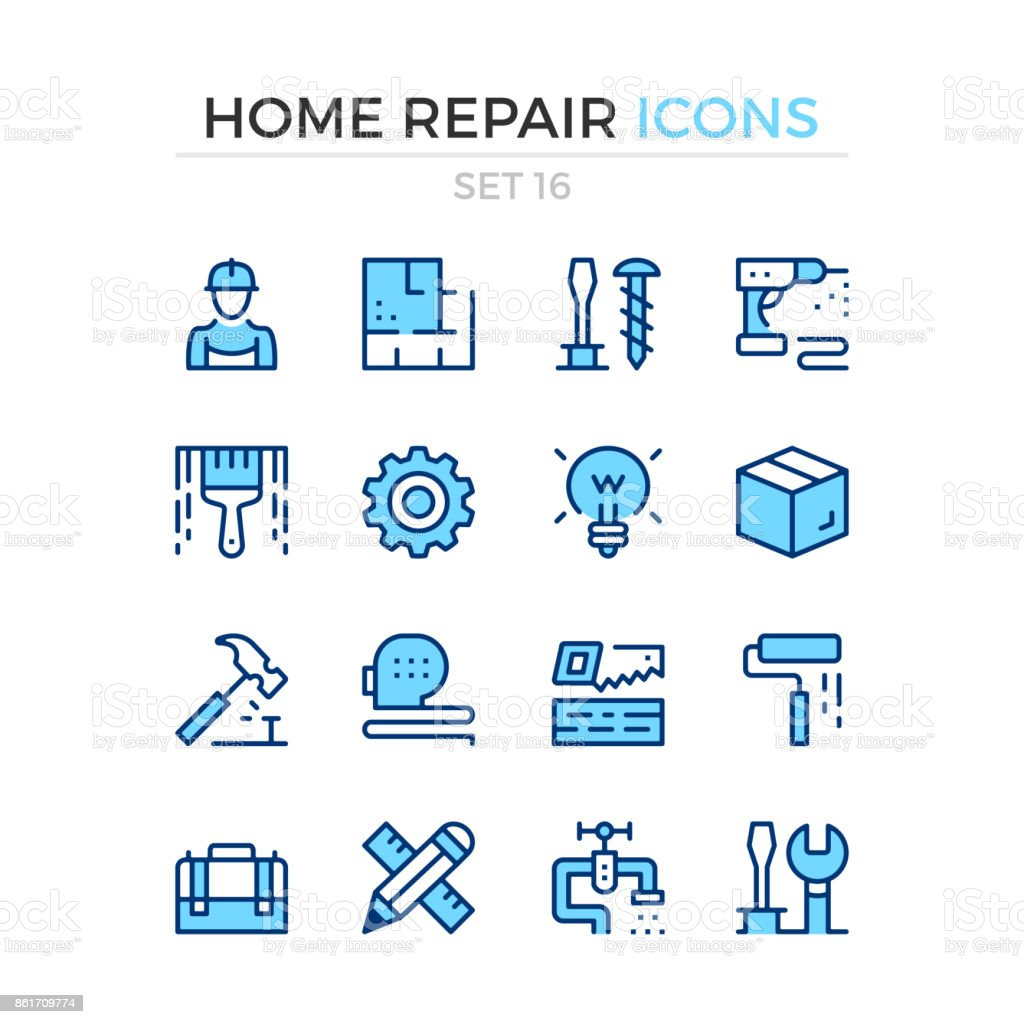Home repair icons. Vector line icons set. Premium quality. Simple thin line design. Stroke, linear style. Modern outline symbols, pictograms vector art illustration