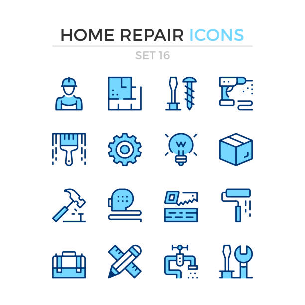 Home repair icons. Vector line icons set. Premium quality. Simple thin line design. Stroke, linear style. Modern outline symbols, pictograms Home repair icons. Vector line icons set. Premium quality. Simple thin line design. Stroke, linear style. Modern outline symbols, pictograms renovation stock illustrations