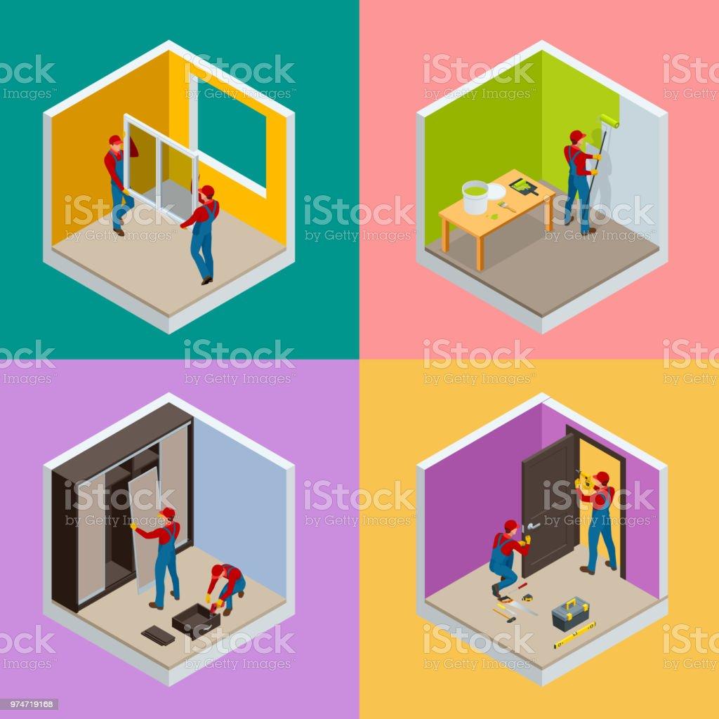 Réparations domiciliaires isométrique concept serti de travailleurs, outils, équipement isolé sur blanc. Bâtiment, construction et outils de réparation à domicile. Vector illustration plat isométrique. - Illustration vectorielle