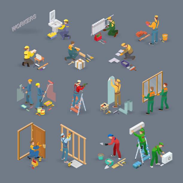 ilustraciones, imágenes clip art, dibujos animados e iconos de stock de reparación hogar iconos isométricos con los trabajadores, herramientas. - obrero de la construcción