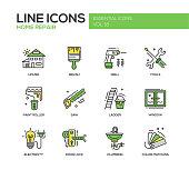 Home repair line design icons set