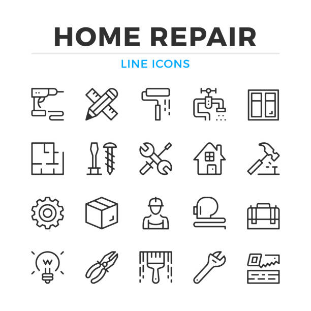 Home repair line icons set. Modern outline elements, graphic design concepts. Stroke, linear style. Simple symbols collection. Vector line icons Home repair line icons set. Modern outline elements, graphic design concepts. Stroke, linear style. Simple symbols collection. Vector line icons renovation stock illustrations