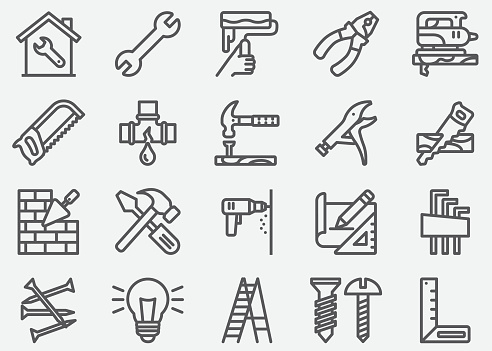 Home Repair Line Icons