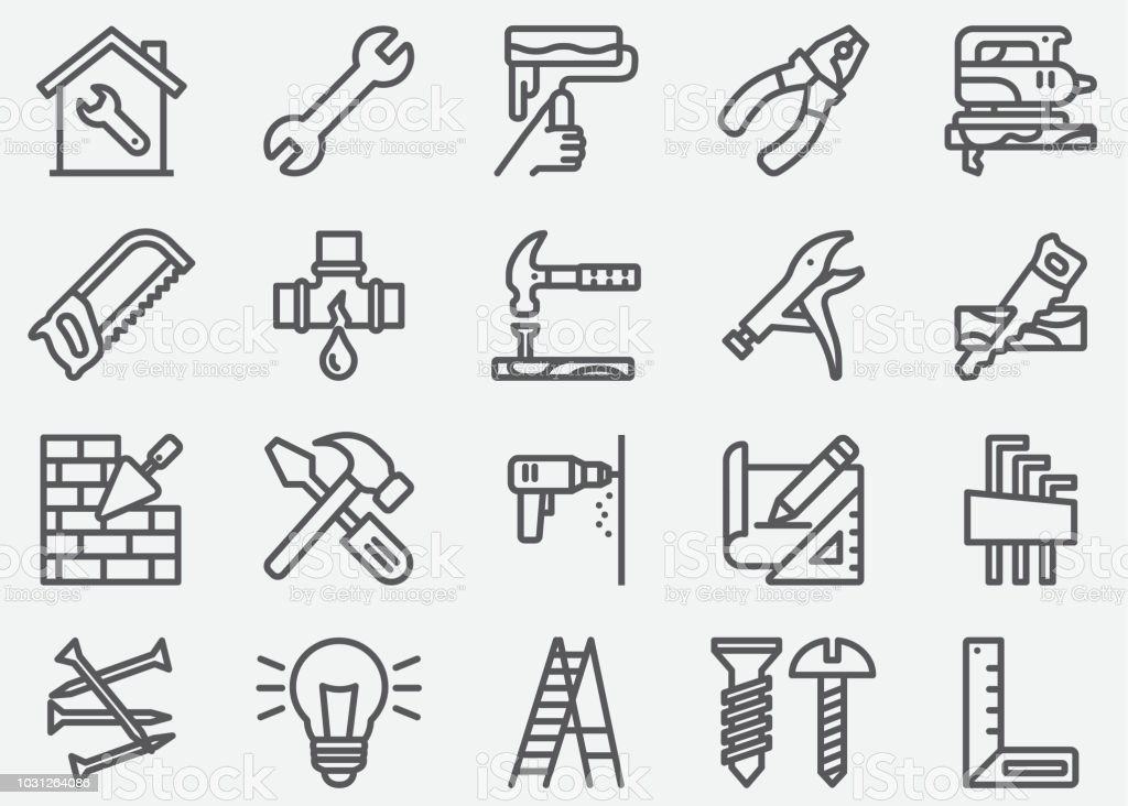 Home Repair Line Icons vector art illustration