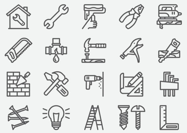 home repair linie symbole - hammer stock-grafiken, -clipart, -cartoons und -symbole