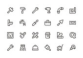 Home Repair - Line Icons - Vector EPS 10 File, Pixel Perfect 24 Icons.