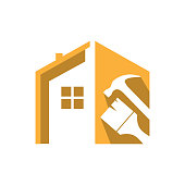 Home Repair Logo. Creative home and tools construction concept.