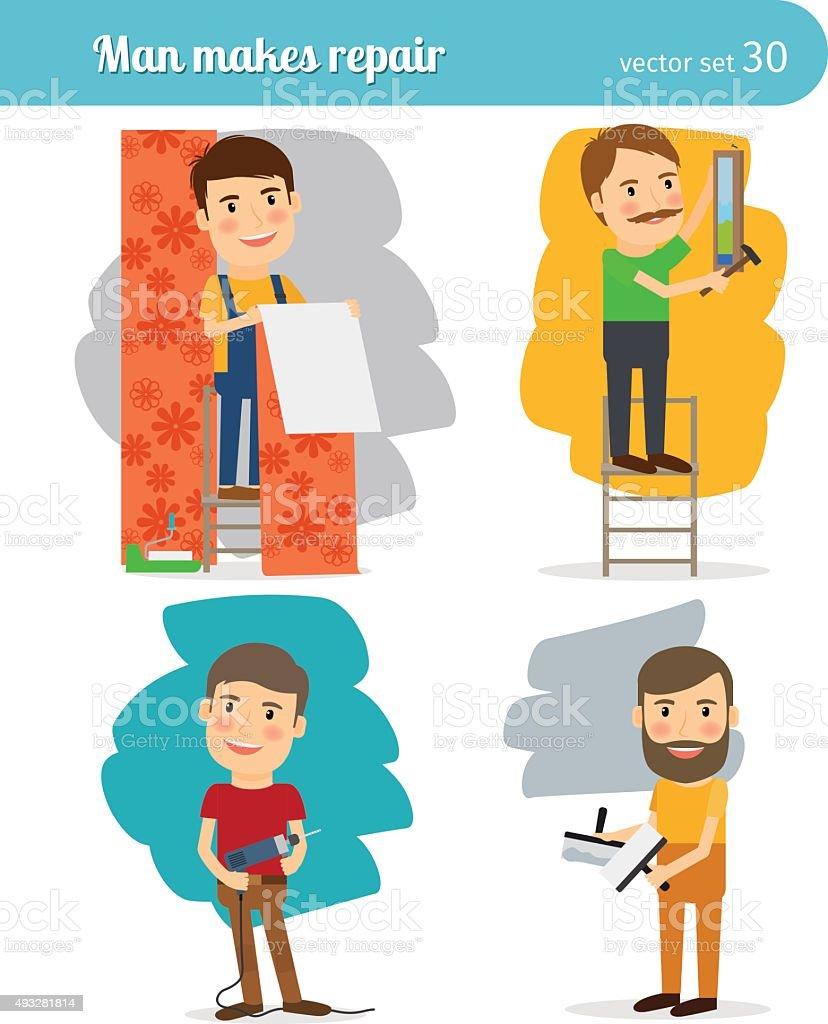 Home Repair Man vector art illustration