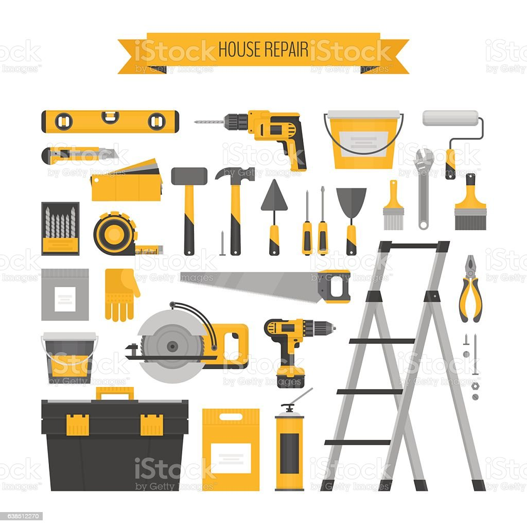 Home repair objects set. Соnstruction tools. vector art illustration