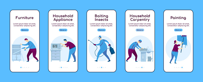 Home repair onboarding mobile app screen flat vector template. Household appliance. Walkthrough website steps with characters. UX, UI, GUI smartphone cartoon interface, case prints set
