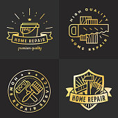 Home repair outline gold symbol vector set. Vintage design. Part two.