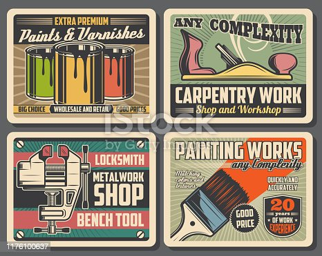 Carpentry, construction and home renovation tools workshop vintage posters, Vector decor paints and varnish brushes, woodwork plane and locksmith metal work vise or bench tool shop