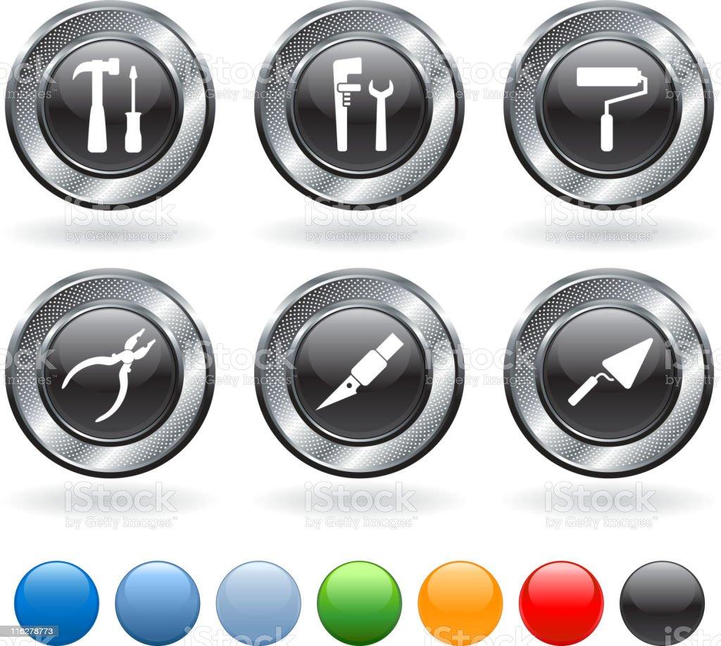 Home repair tools vector icon set on metallic button royalty-free stock vector art