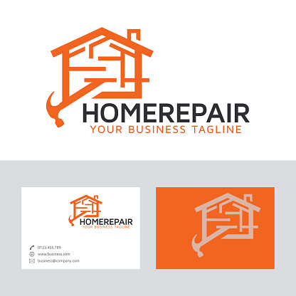 Home repair vector logo with business card template