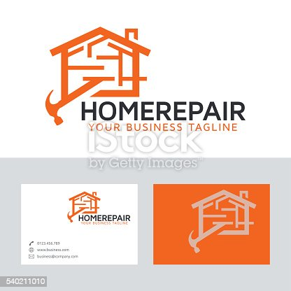 Home Repair Vector Logo With Business Card Template Stock