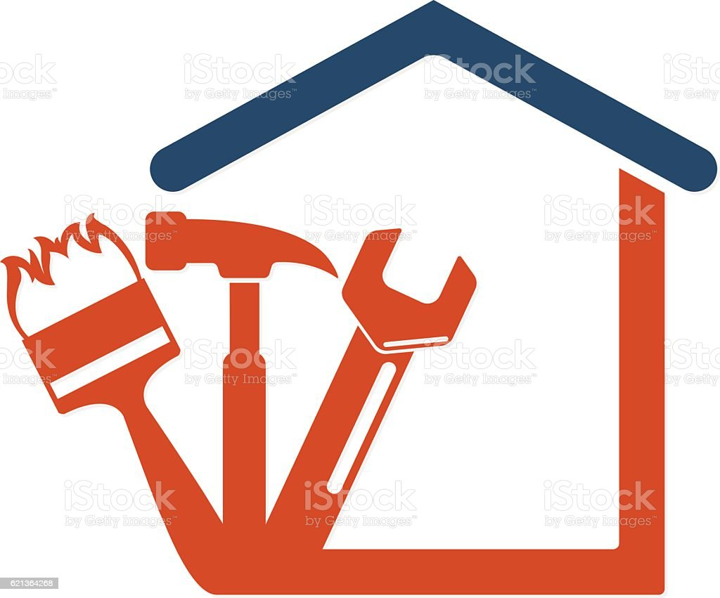 Home repair with the tool vector art illustration