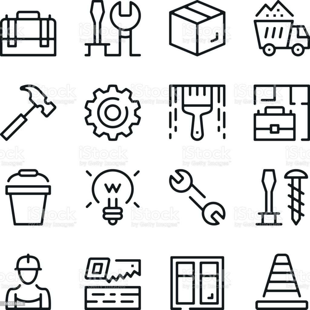 Home repair, work tools line icons set. Modern graphic design concepts, simple outline elements collection. Vector line icons vector art illustration