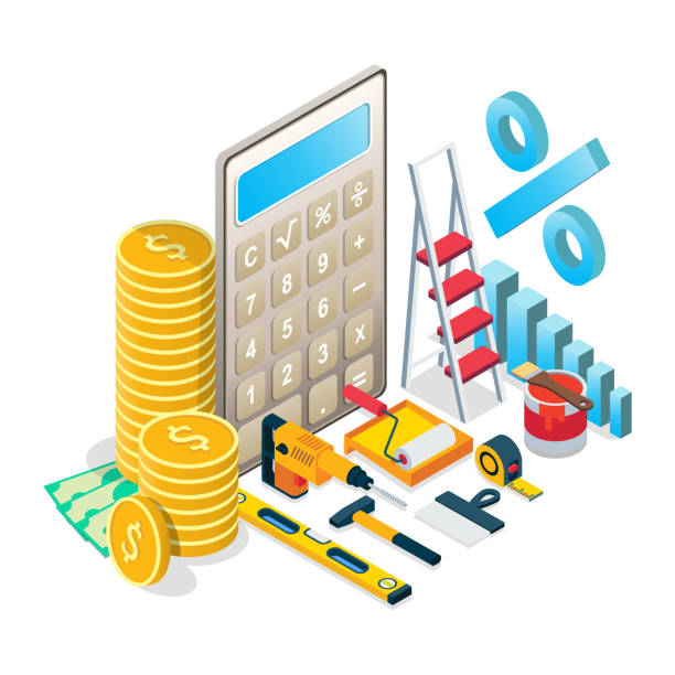 Home repairs budget concept vector isometric illustration Budgeting for home maintenance, renovation concept vector isometric illustration. Home repairs budget composition for web banner, website page etc. budget backgrounds stock illustrations