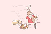 Home rest, pet, leisure time concept. Young happy woman cartoon character or girl lies on bed at home with pet cat eats pizza and watching television. Recreation and relaxation lifestyle illustration.