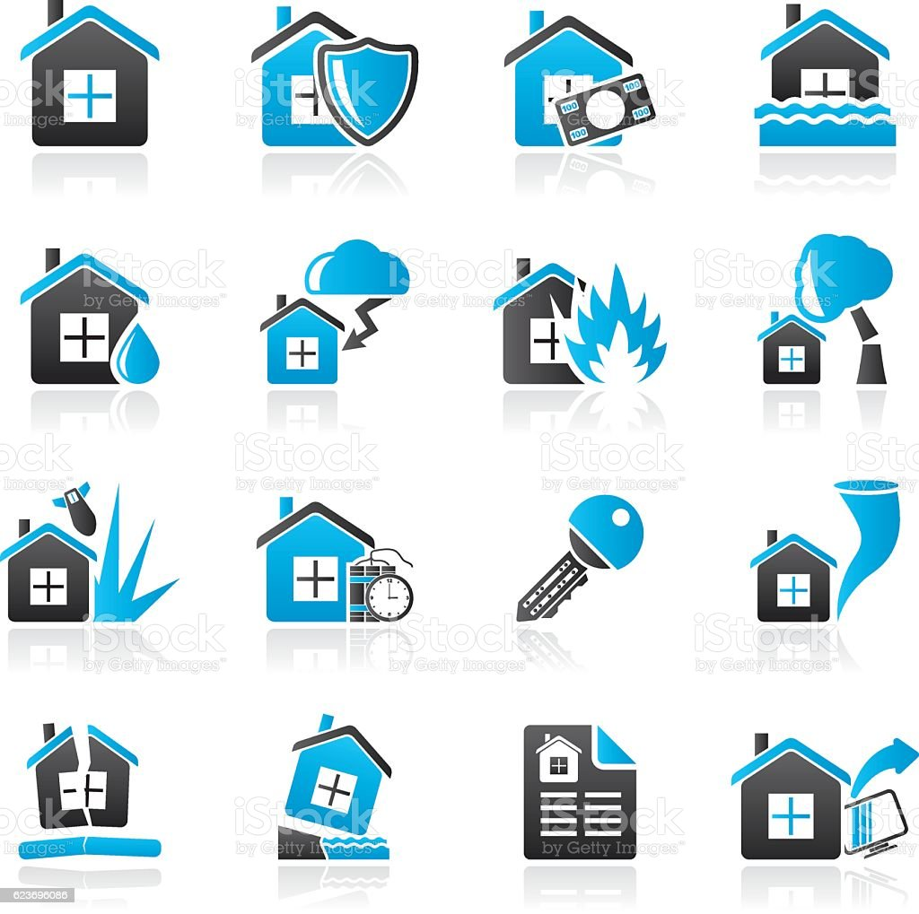 Home risk and insurance icons vector art illustration