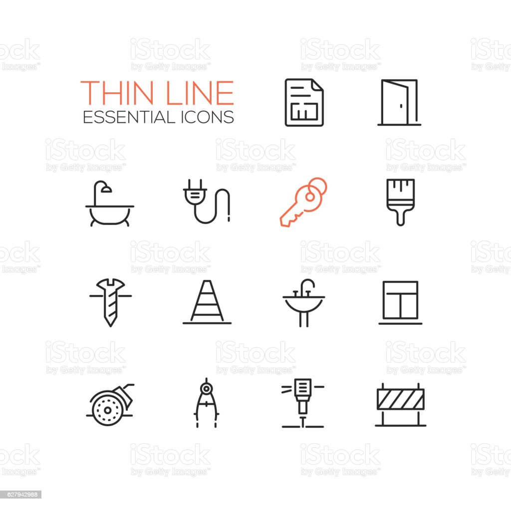 Home, Road Repair - Thin Line Icons Set vector art illustration