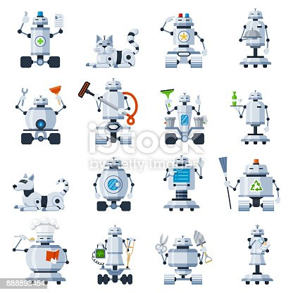 Home robots set. Domestic robot for automation household help with cooking, cleaning the house. Vector flat style cartoon illustration isolated on white background