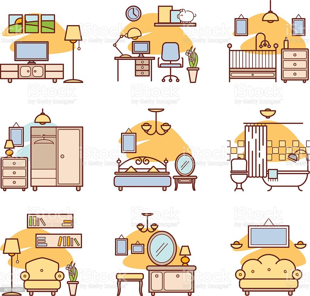 100 interior design icons set in cartoon style for any for Room design vector