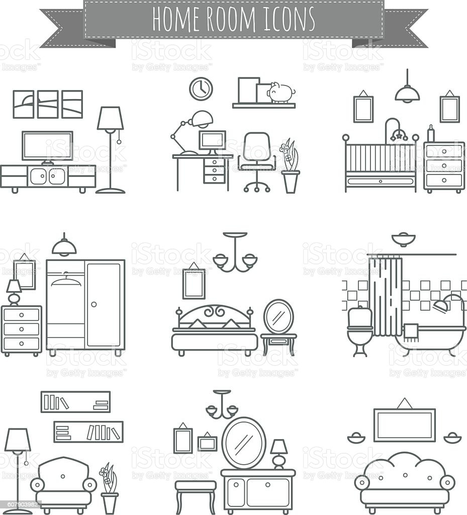 Home Room Icons Interior Design Room Types Icons Stock Vector Art ...