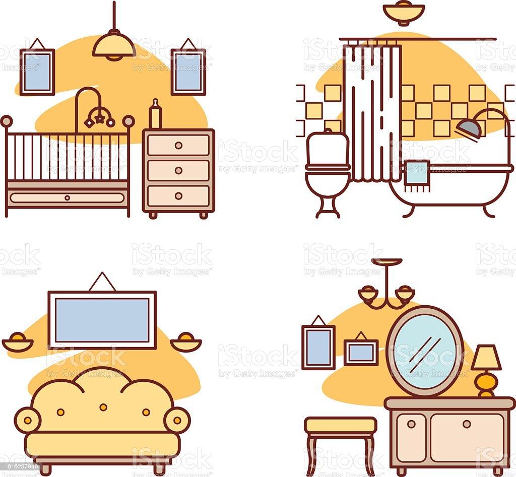 Home room icons. Living room, bedroom, bathroom vector art illustration